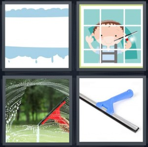 4 Pics 1 Word Answer 8 letters for water splashed on window, cartoon window washer, window being cleaned, wiper for cleaning windshield