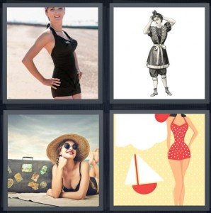 4 Pics 1 Word Answer 8 letters for woman with one piece bathing suit on beach, Victorian bather woman, woman traveling with suitcase, cartoon boat and polka dots suit