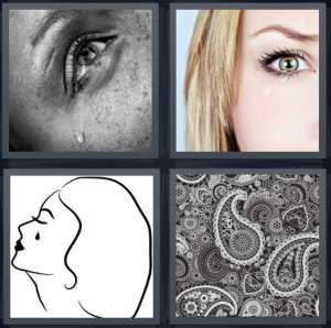 4 Pics 1 Word Answer 8 letters for crying woman, woman eye close up, profile of woman crying, paisley fabric pattern