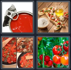 4 Pics 1 Word Answer 8 letters for sauce in can, pizza in shape of Italy, Italian food red sauce, fruit on vine growing in garden