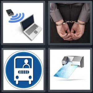 4 Pics 1 Word Answer 8 letters for transmit information from device to computer, man in handcuffs, icon for bus stop, credit card in machine