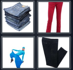 4 Pics 1 Word Answer 8 letters for stack of folded denim jeans, red pants, costume for break dancing, black dress slacks with button