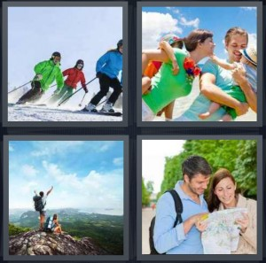 4 Pics 1 Word Answer 8 letters for family skiing on snowy mountain, family laughing on beach, man climbing mountain at summit, tourists with map
