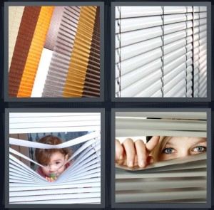 4 Pics 1 Word Answer 8 letters for different colored blinds for window, window with closed blinds, child looking through blinds, woman peeking through blinds