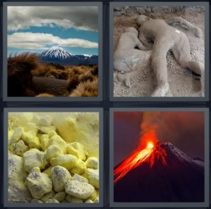 4 Pics 1 Word Answer 7 letters for snow covered mountain in distance, ruins from Pompeii explosion, ash after eruption, mountain erupting fire flame