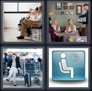 4 Pics 1 Word Answer 7 letters for doctors office line to see doctor, man serving group at restaurant, woman in airport, icon for seating or sit