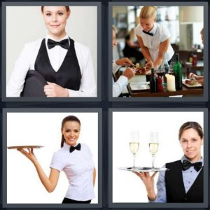 4 Pics 1 Word Answer 8 letters for female butler wearing suit, couple having dinner at restaurant, server with tray, server with two glasses of champagne