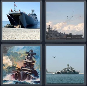 4 Pics 1 Word Answer 7 letters for boat on water, ship with cargo, pirate boat on waves, barge with helicopter