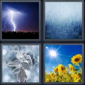 4 Pics 1 Word Answer 7 letters for lightning bolt in strong storm, heavy rain puddles, snow and ice on leaf frost, sunflowers in hot sun
