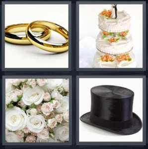 4 Pics 1 Word Answer 7 letters for gold bands rings, cake with bride and groom on top, white roses flowers, top hat for groom