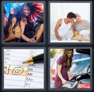 4 Pics 1 Word Answer 7 letters for party dancing girls club, couple having breakfast in bed, smiley face on Saturday and Sunday in planner, woman going on a trip to travel