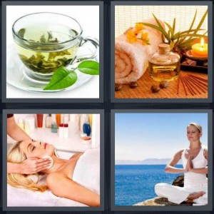 4 Pics 1 Word Answer 8 letters for herbal mint tea in glass, essential aromatherapy oils with candle, woman getting massage, woman meditating by sea