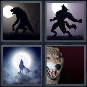 4 Pics 1 Word Answer 8 letters for wolf walking by full moon, monster yelling by full moon, wolf howling at moon, wolf with teeth bared