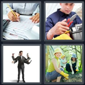 4 Pics 1 Word Answer 7 letters for man calculating finances, man with tools plumber, man with many arms, women in garden planting