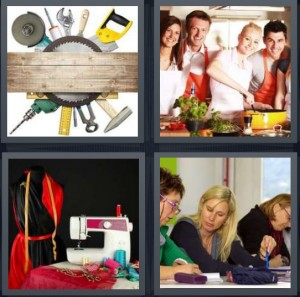 4 Pics 1 Word Answer 8 letters for carpenter tools with wood, people taking cooking class, sewing machine with dress pattern, women in knitting class