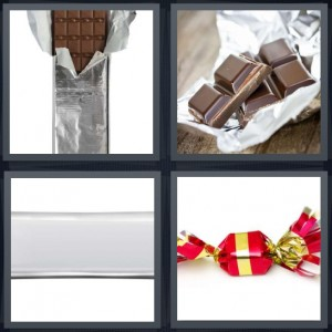 4 Pics 1 Word Answer 7 letters for chocolate in foil, chocolate squares, bar in foil, hard candy in red and gold