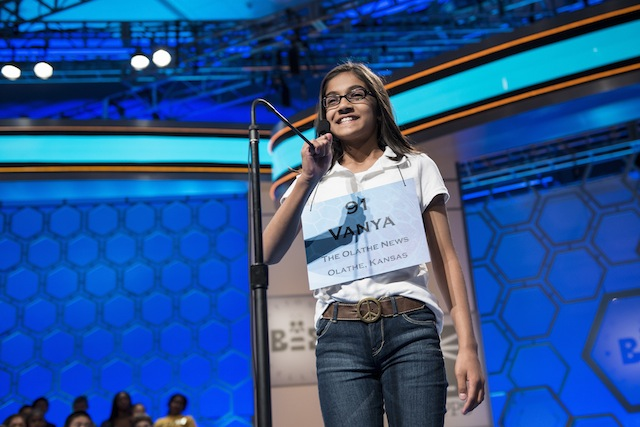 Vanya Shivashankar spells a words at the Scripps National Spelling Bee. (Getty)