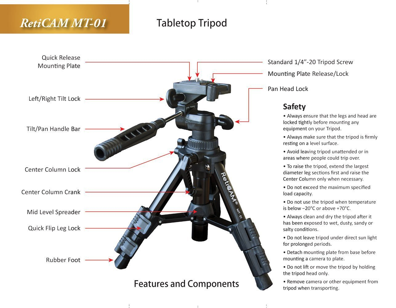 reticam mini tripod, mini camera stand, small tripod, travel tripod