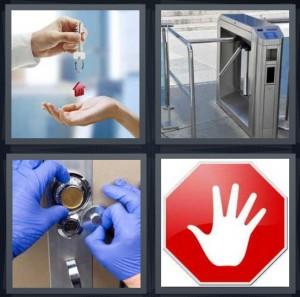 4 Pics 1 Word Answer for Keys, Turnstile, Lock, Stop ...