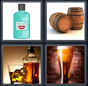 4 Pics 1 Word Answer For Mouthwash Barrel Whiskey Beer Heavy Com