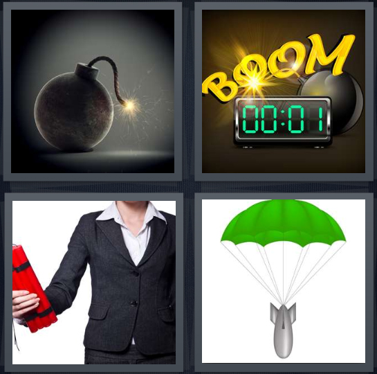 4 Pics 1 Word Answer For Fuse  Boom  Dynamite  Parachute