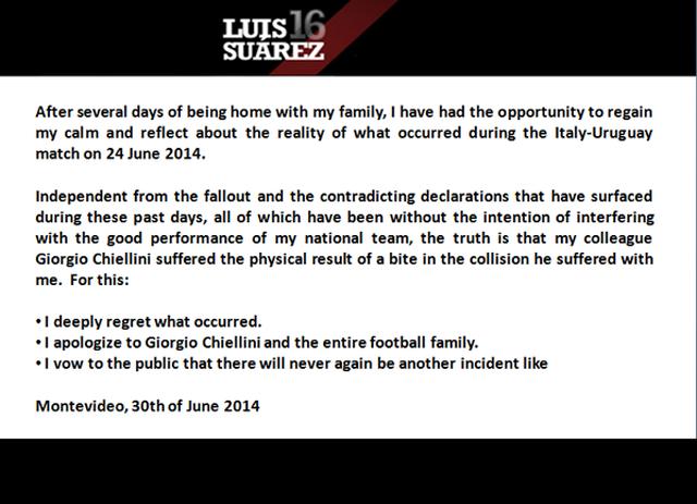 Luis Suarez Apology Statement Twitter