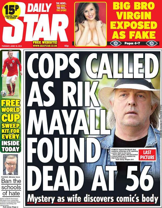 Rik Mayall Front Page