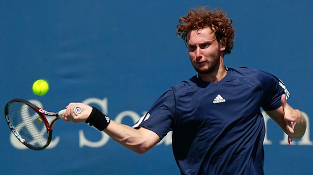 Gulbis returns a serve at the Southern Financial Group Masters in 2010. (Getty)