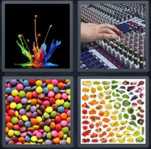 4 Pics 1 Word Answer for Paint, Sound, Candy, Vegetables   Heavy.com