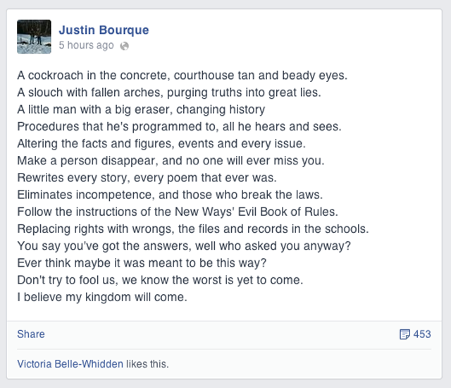 Justin Bourque Facebook post