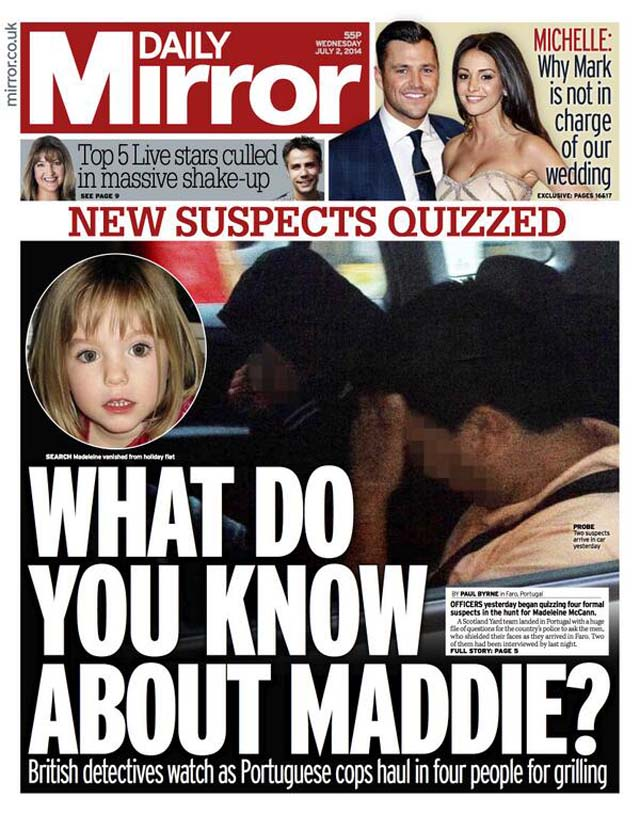 Daily Mirror Madeline McCANN