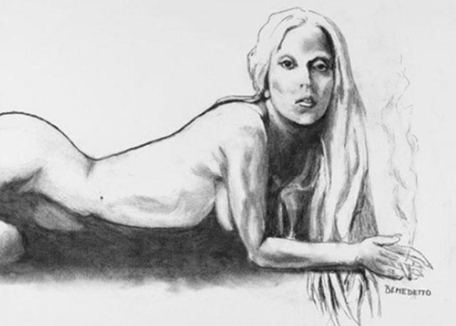 lady gaga sketch, lady gaga nude sketch