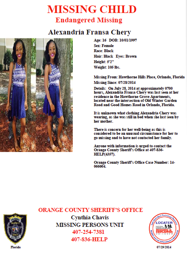 Alexandria Chery Missing Poster