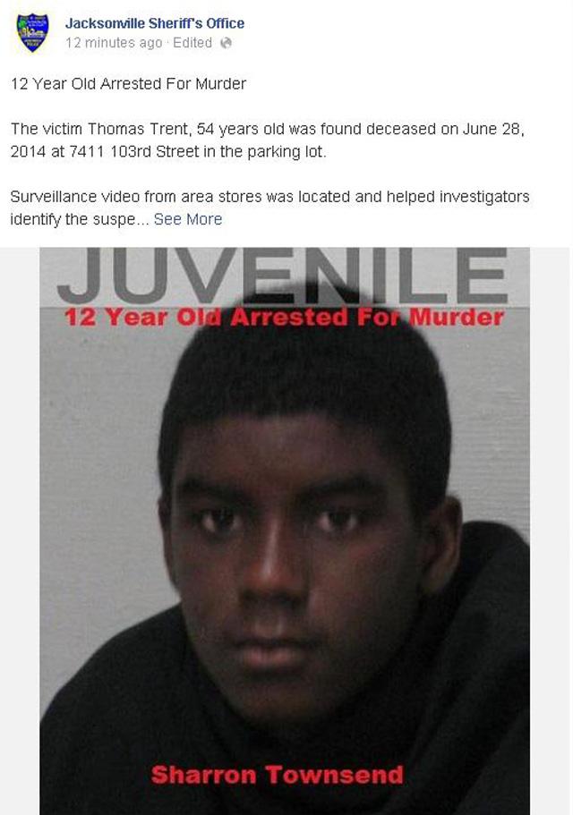 Sharron Townsend Florida 12-year-old arrested murder