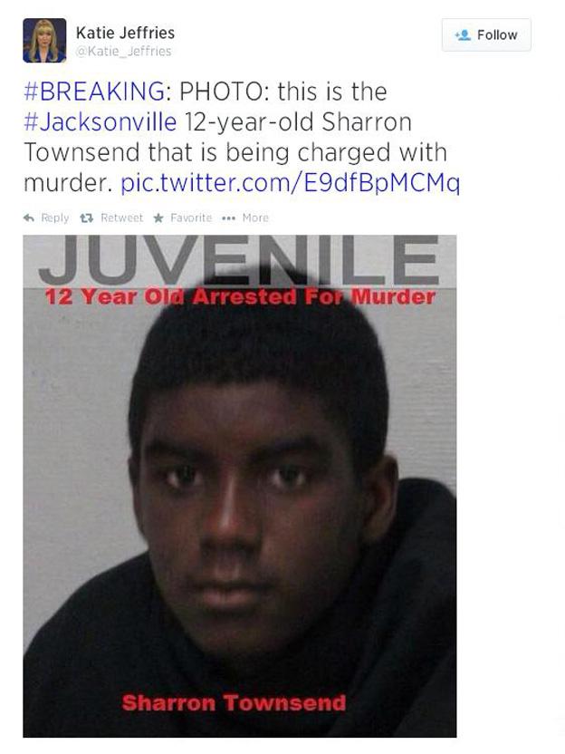 Sharron Townsend 12 year old boy charged murder Florida Thomas Trent