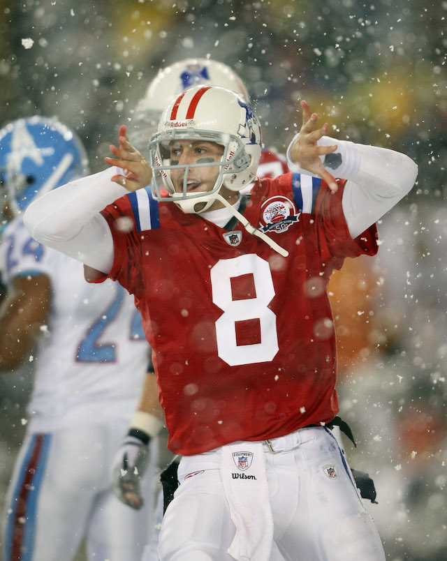 Hoyer celebrates his touchdown against the Tennessee Titans on October 18, 2009 at Gillette Stadium in Foxboro, Massachusetts.The Patriots beat  the Titans 59-0.  (Getty)