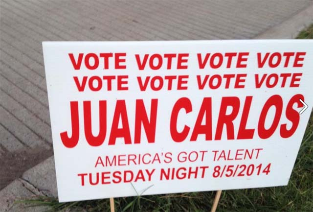 A sign placed at the corner of Montrose and Allen Parkway, where Juan Carlos normally roller blades.  (Facebook/Juan Carlos Fan Page)