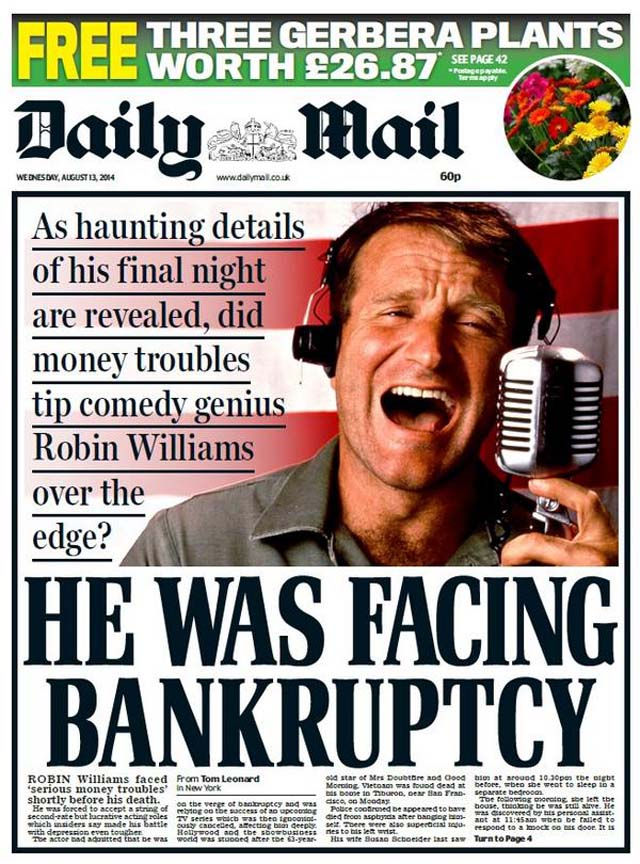 ROBIN WILLIAMS DAILY MAIL FRONT PAGE