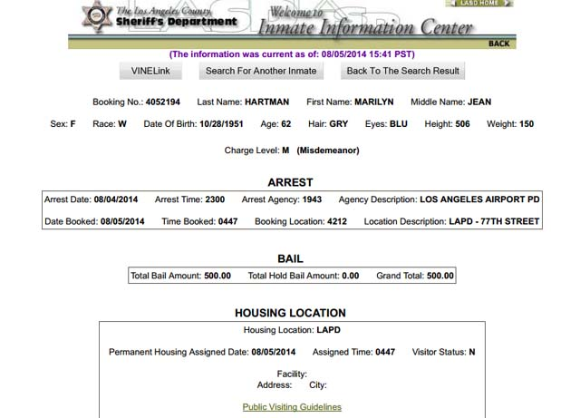 LA Sheriff's Department Booking Document. (NBC Bay Area).
