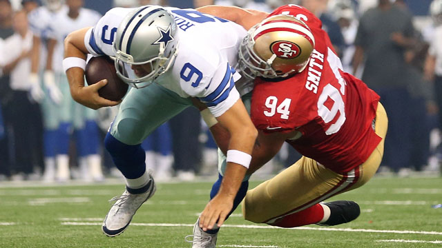 Tony Romo, Justin Smith, Dallas Cowboys, San Francisco 49ers