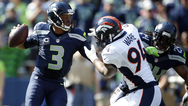 Russell Wilson, Seattle Seahawks, DeMarcus Ware, Denver Broncos