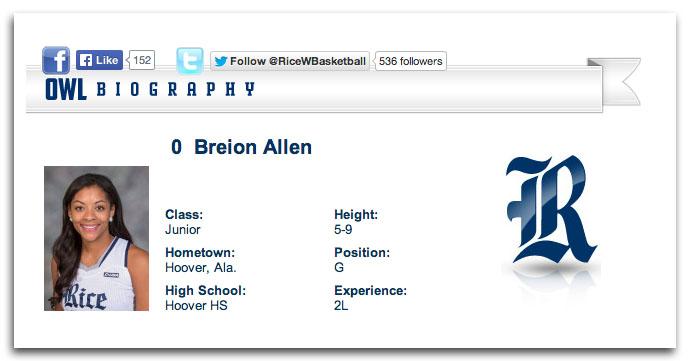 Breion Allen Rice University bio
