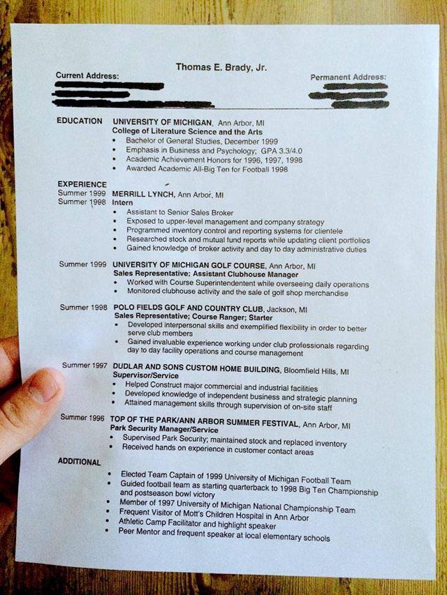 Tom Brady resume