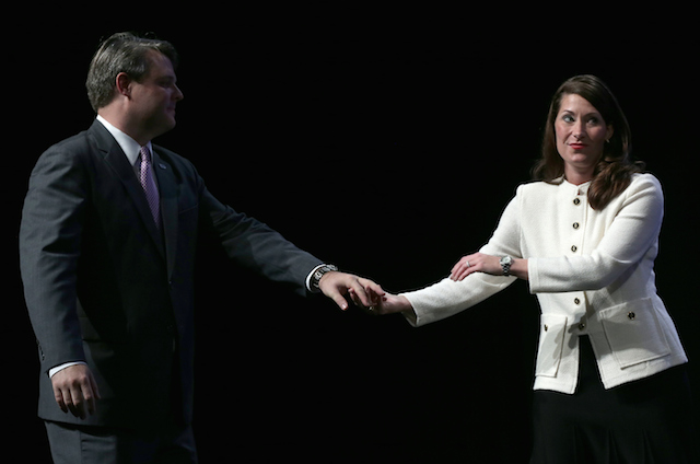 Alison Lundergan Grimes and her husband, Andrew Grimes, during an event October 15 in Louisville. (Getty)