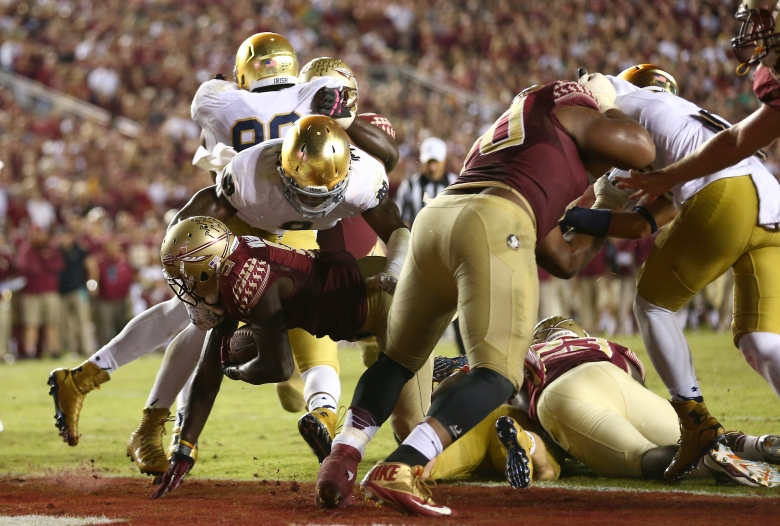 Florida State running back Karlos Williams scores a touchdown against Notre Dame on Oct. 18. (GETTY)