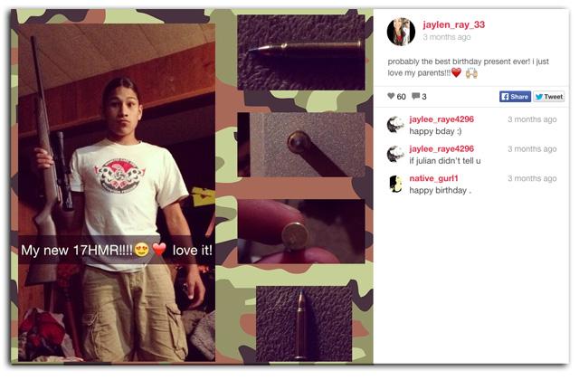 jaylen fryberg gun, jaylen fryberg instagram