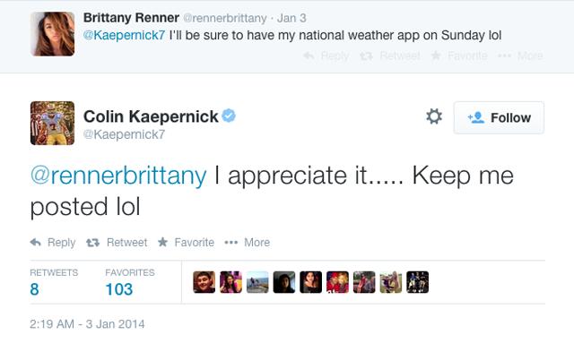 Colin Kaepernick Brittany Renner Twitter