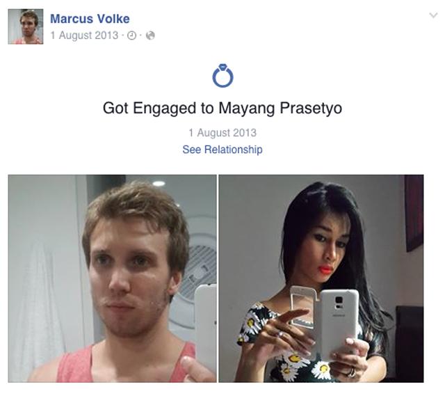 Marcus VOlke Engaged Fiance Mayang