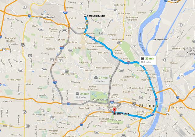 How far is Shaw from Ferguson
