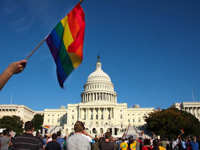 A demonstrator waves a rainbow flag in f